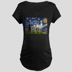 Starry Night Llama Duo Maternity Dark T-Shirt