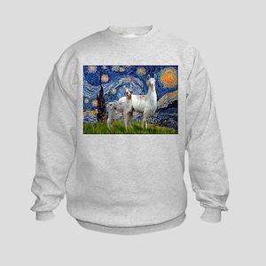 Starry Night Llama Duo Kids Sweatshirt