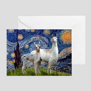 Starry Night Llama Duo Greeting Card