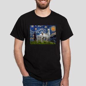 Starry Night Llama Duo Dark T-Shirt