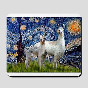 Starry Night Llama Duo Mousepad