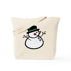 Round Snowman Tote Bag