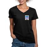Pinching Women's V-Neck Dark T-Shirt