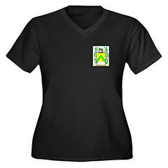 Pinchard Women's Plus Size V-Neck Dark T-Shirt