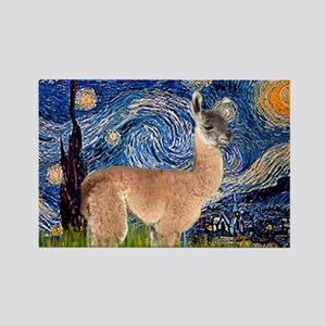 Starry Night Llama Rectangle Magnet