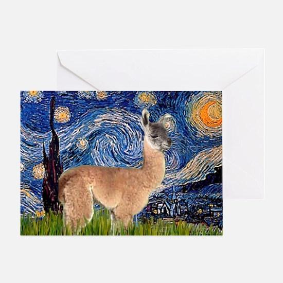 Starry Night Llama Greeting Card