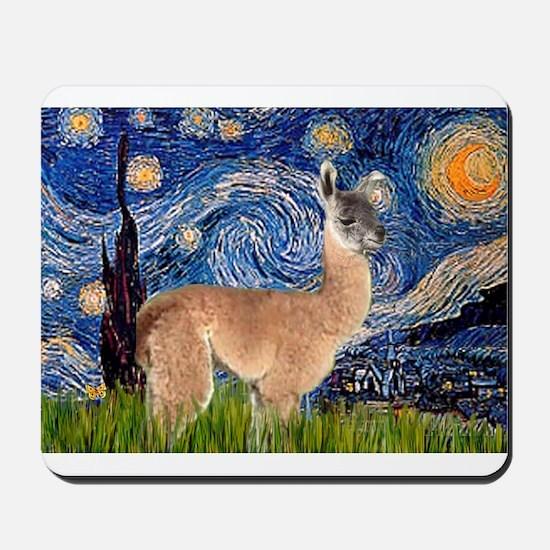 Starry Night Llama Mousepad