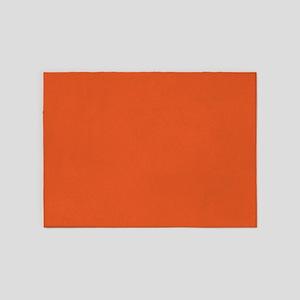 Bright Orange Color Block 5'x7'area Rug