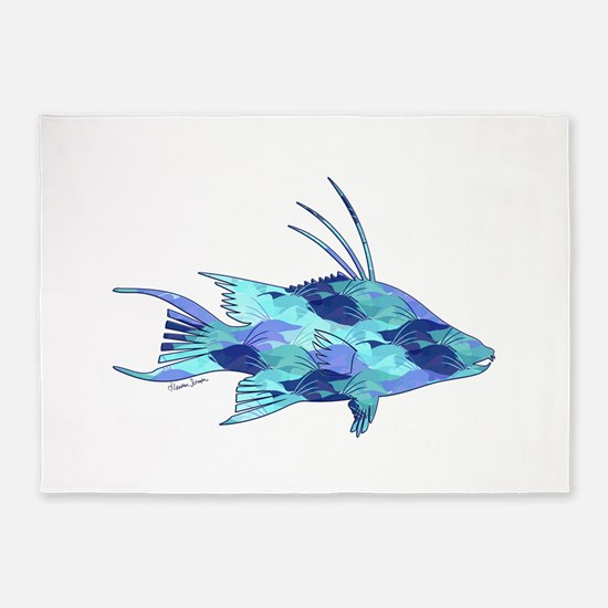 Blue Camouflage Hogfish 5'x7'Area Rug