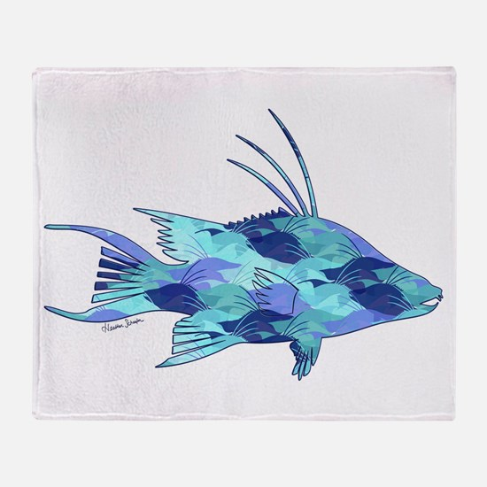 Blue Camouflage Hogfish Throw Blanket