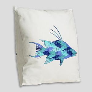 Blue Camouflage Hogfish Burlap Throw Pillow
