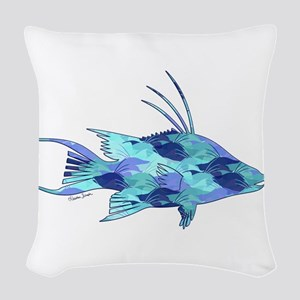 Blue Camouflage Hogfish Woven Throw Pillow
