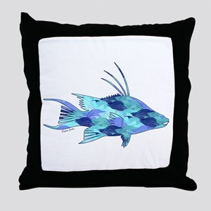 Blue Camouflage Hogfish Throw Pillow