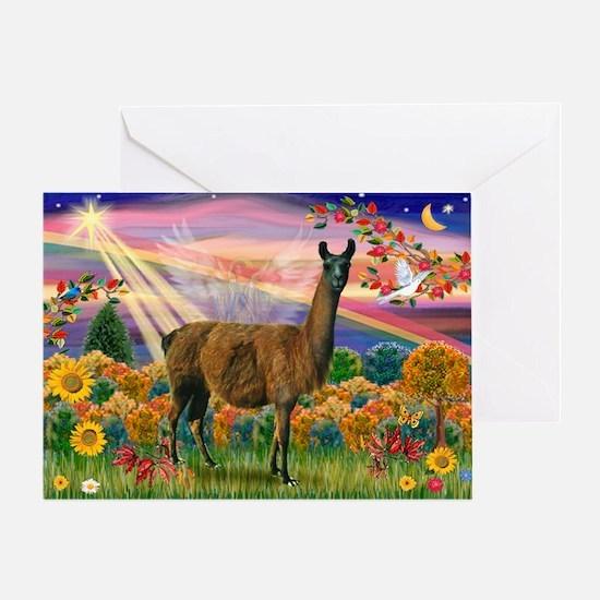 Autumn Angel & Llama Greeting Card