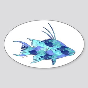 Blue Camouflage Hogfish Sticker