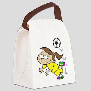SOCCERGIRLTOONBRUNETTEYELLOW Canvas Lunch Bag