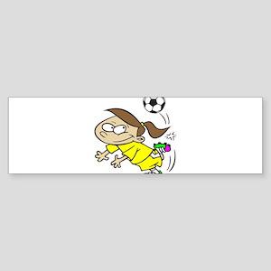 SOCCERGIRLTOONBRUNETTEYELLOW Bumper Sticker