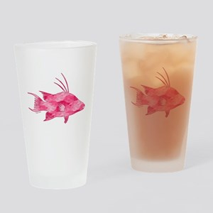 Pink Camouflage Hogfish Drinking Glass