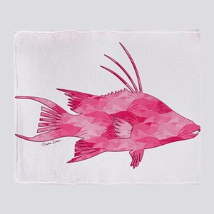 Pink Camouflage Hogfish Throw Blanket