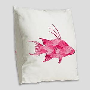 Pink Camouflage Hogfish Burlap Throw Pillow