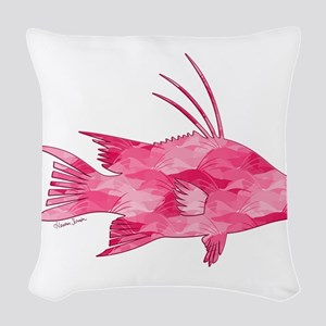 Pink Camouflage Hogfish Woven Throw Pillow