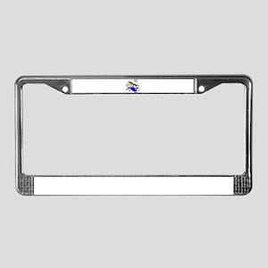 SOCCERGIRLTOONBRUNETTEBLUE License Plate Frame