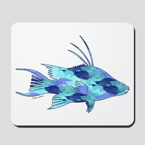 Blue Camouflage Hogfish Mousepad