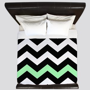 With A Mint Green Border King Duvet