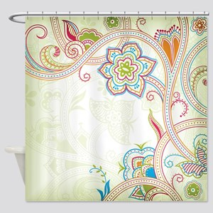 Ornamental Vintage Floral Shower Curtain