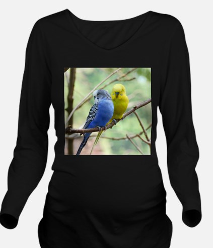 Budgie Love Long Sleeve Maternity T-Shirt