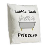 Bubble Bath Princess Burlap Throw Pillow
