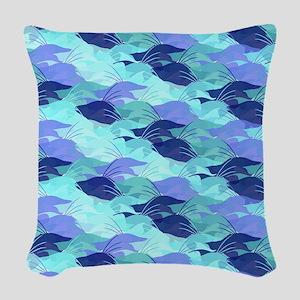 Blue Hogfish Camo Woven Throw Pillow