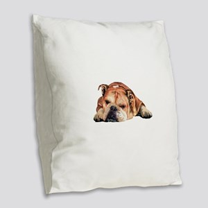 English Bulldog Art Portrait Burlap Throw Pillow
