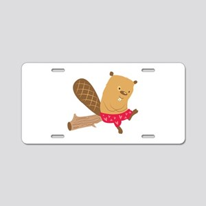Beaver On Log Aluminum License Plate