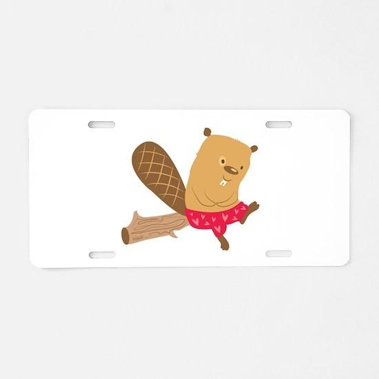 Beaver On Log Aluminum License Plate