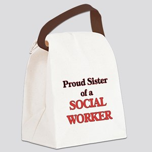Proud Sister of a Social Worker Canvas Lunch Bag