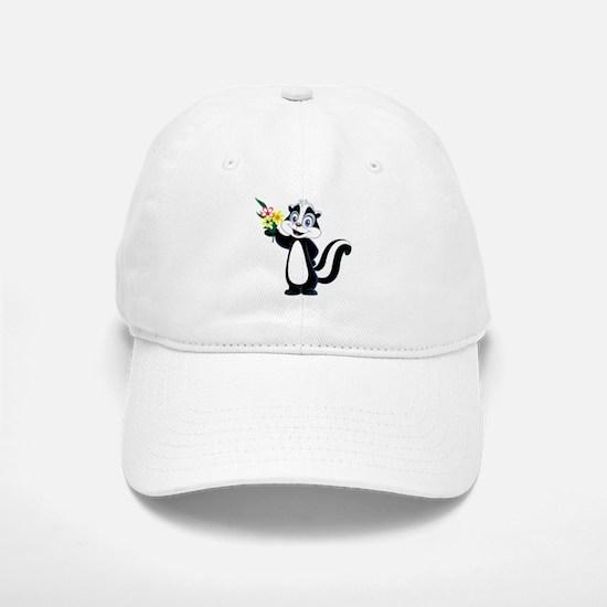 Friendle Skunk with Flower Bouquet Baseball Baseball Cap