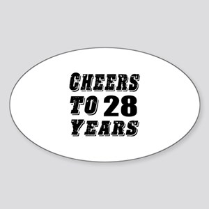 Cheers To 28 Sticker (Oval)