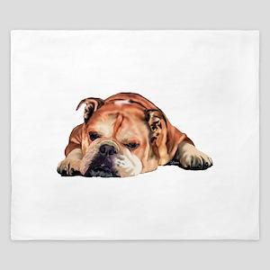 English Bulldog Art Portrait King Duvet