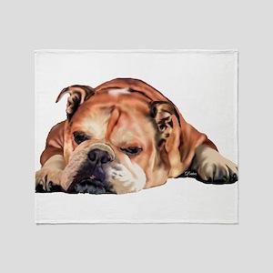 English Bulldog Art Portrait Throw Blanket