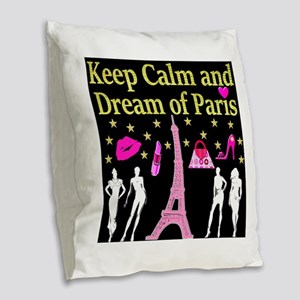 LOVE PARIS Burlap Throw Pillow