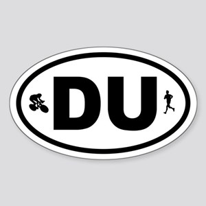 Duathlon Biker Runner Oval Sticker