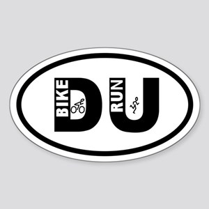 Duathlon Bike Run Oval Sticker