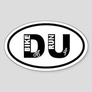 Duathlon Bike Run Oval Sticker