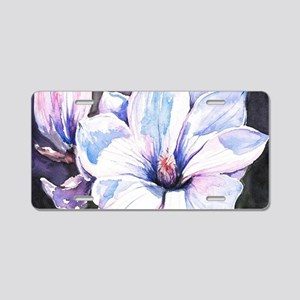 Magnolia Painting Aluminum License Plate