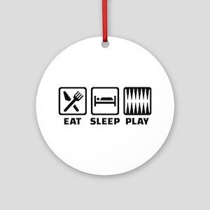Eat sleep play Backgammon Round Ornament