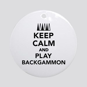 Keep calm and play Backgammon Round Ornament