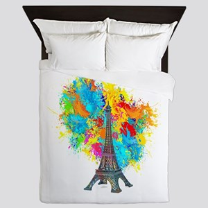 EIFFEL TOWER COLOR BURST upload Queen Duvet