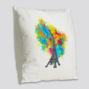 EIFFEL TOWER COLOR BURST uploa Burlap Throw Pillow