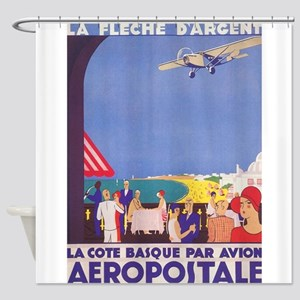 Aeropostale French Airmail Vintage Shower Curtain